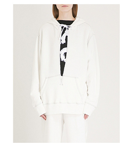 MM6 MAISON MARGIELA Contrast-stitch cotton-blend hoody (Off+white