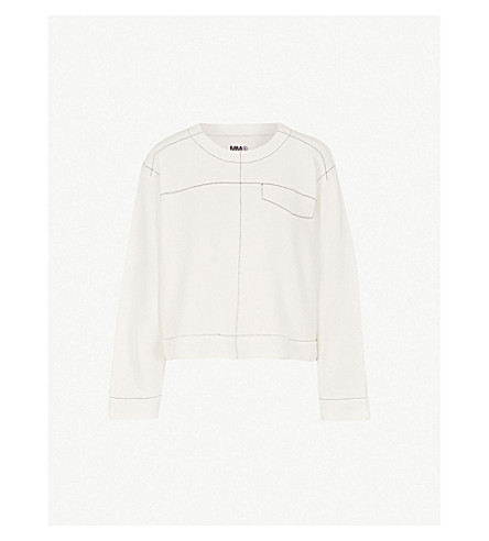 MM6 MAISON MARGIELA Contrast-stitch cotton-blend sweatshirt (Off+white