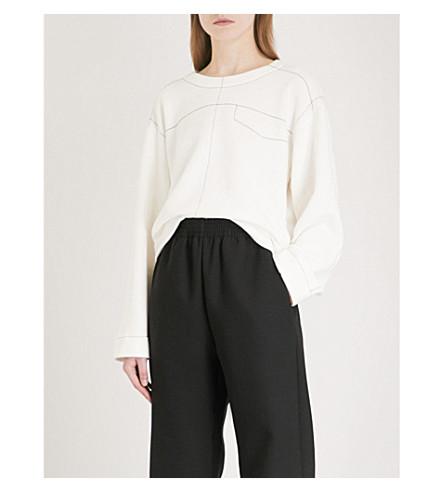 MM6 MAISON MARGIELA Contrast-stitch cotton-blend sweatshirt (Off+white