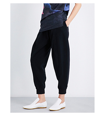 MM6 Tapered cropped high-rise cotton-jersey jogging bottoms (Black