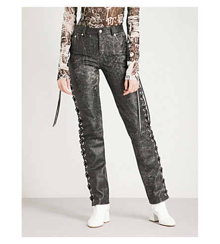MM6 MAISON MARGIELA Laced straight leather trousers (Black