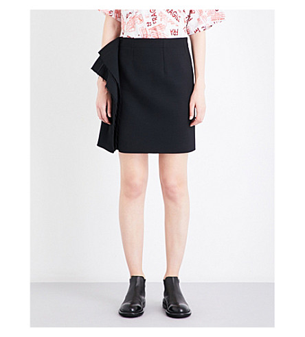 MM6 Draped-side bonded twill skirt (Black