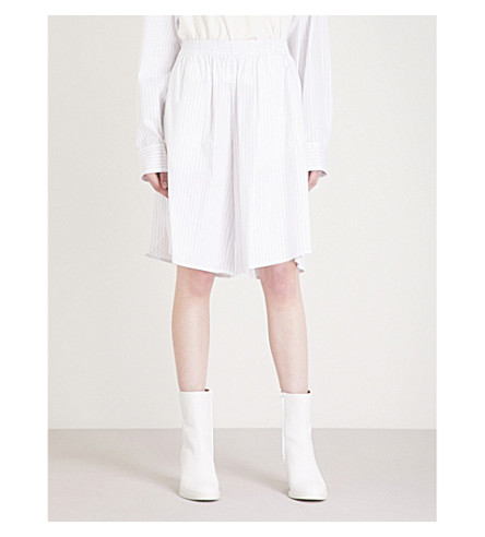MM6 MAISON MARGIELA Pinstriped high-rise cotton shorts (White+black+stripe
