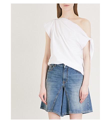MM6 MAISON MARGIELA Parachute one-shoulder cotton-poplin top (White