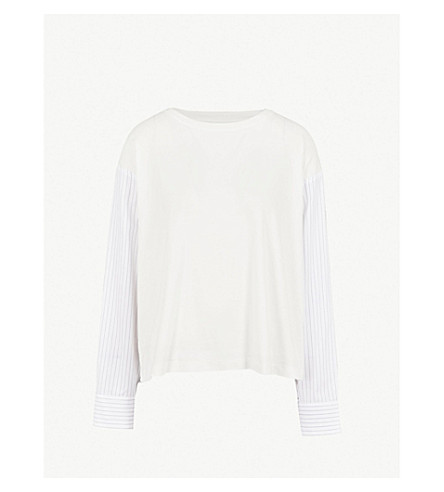 MM6 MAISON MARGIELA Shirt-sleeve cotton-jersey top (White