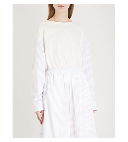 MM6 MAISON MARGIELA Shirt-sleeve cotton-jersey top (White