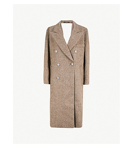 MAISON MARGIELA Checked wool coat (Melange brown check