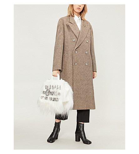 MAISON MARGIELA Checked wool coat (Melange+brown+check