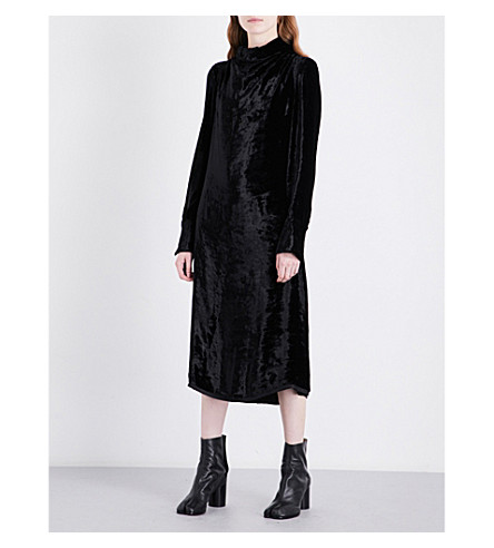 MAISON MARGIELA High-neck velvet dress (Black