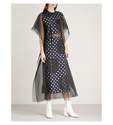 MAISON MARGIELA Dotted chiffon and jacquard dress (Navy+grey+dots