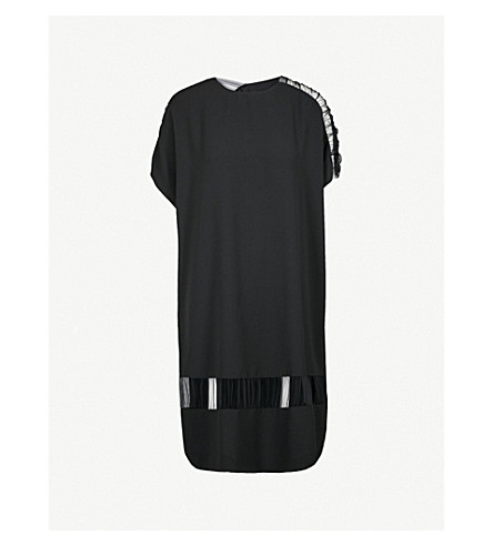 MAISON MARGIELA Tulle-panel crepe dress (Black