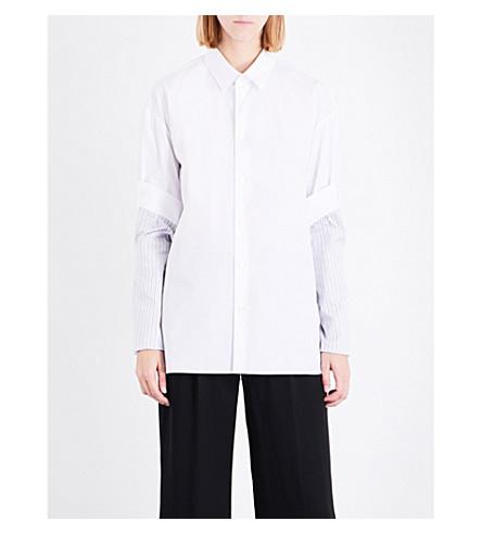 MAISON MARGIELA Striped sleeve-panelled cotton-poplin shirt (White
