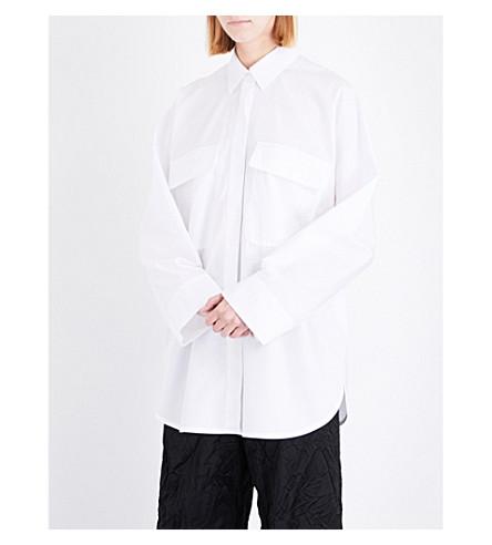 MAISON MARGIELA Oversized cotton-poplin shirt (White