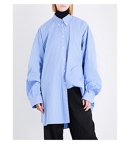 MAISON MARGIELA Oversized striped cotton-poplin shirt (Large+striped