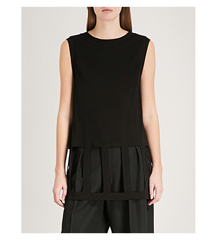 MAISON MARGIELA Cutout sleeveless jersey vest (Black