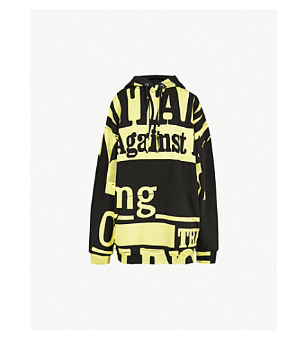 MAISON MARGIELA Vitamin-print jersey hoody (Black+yellow