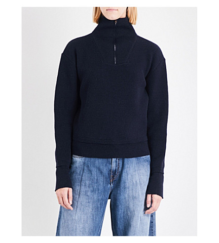 MAISON MARGIELA Frilled high-neck wool cardigan (Navy+blue
