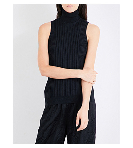 MAISON MARGIELA Turtleneck ribbed-knitted jumper (Anthracite