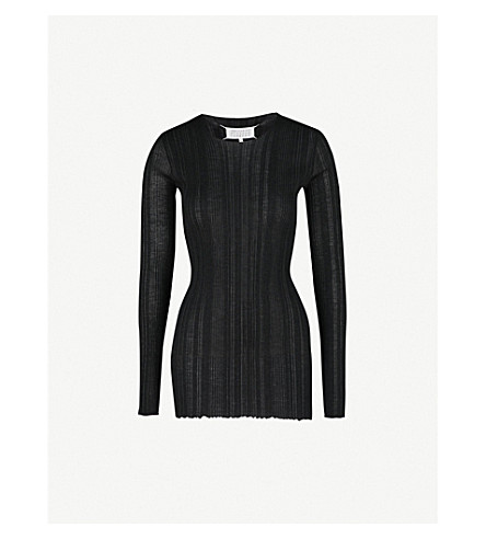 MAISON MARGIELA Semi-sheer ribbed wool-blend top (Black