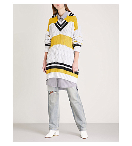 MAISON MARGIELA Striped oversized cable-knit jumper (Light+grey+yellow