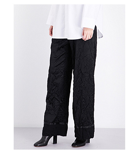 MAISON MARGIELA Wide cropped high-rise wool-blend satin trousers (Black
