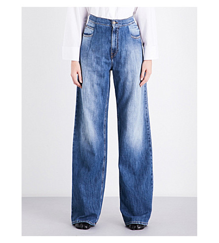 MAISON MARGIELA Relaxed-fit wide high-rise jeans (Blue+denim