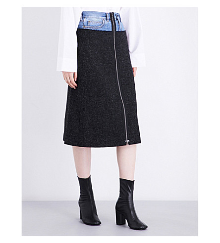 MAISON MARGIELA Tweed wool and denim skirt (Dark+mel+grey