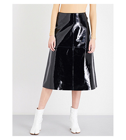 MAISON MARGIELA Patent-leather A-line midi skirt (Black