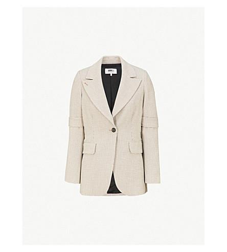 MM6 MAISON MARGIELA Strap-sleeve woven jacket (Checked+beige
