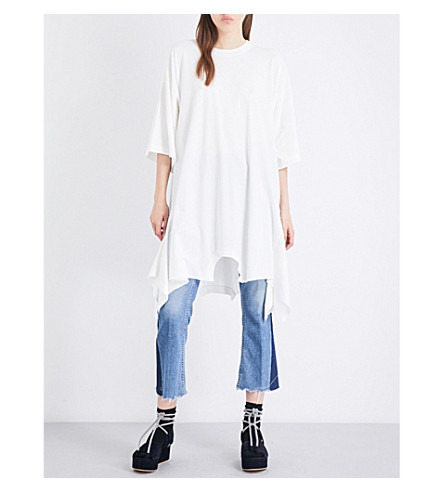 MM6 Asymmetric cotton-jersey dress (Off+white