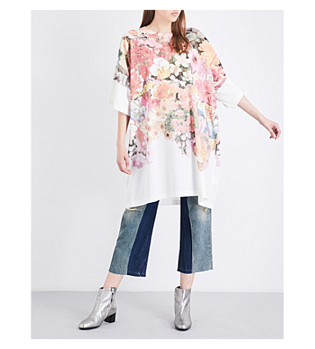 MM6 Floral-print cotton-jersey dress (Flower+print