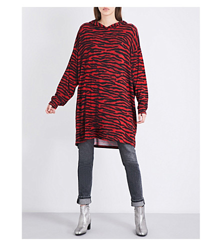 MM6 Leopard-print jersey dress (Red+tiger+print