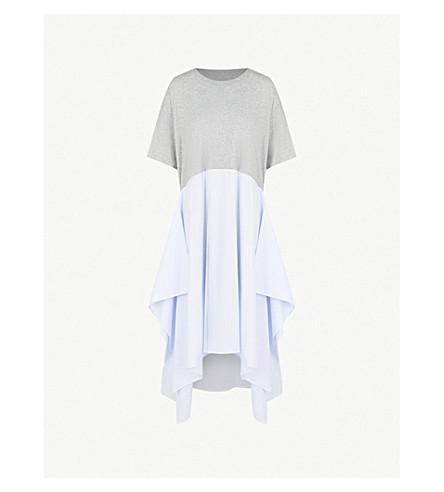 MM6 MAISON MARGIELA Contrast-hem oversized cotton dress (Grey/lt+blue+stripe