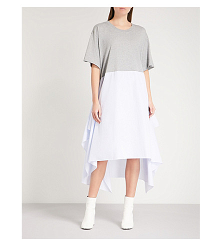 MM6 Contrast-hem oversized cotton dress (Grey/lt+blue+stripe