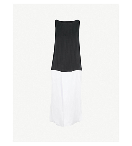 MM6 MAISON MARGIELA Contrast-hem sleeveless cotton and woven dress (Black/white
