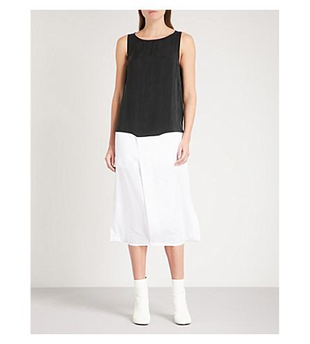 MM6 Contrast-hem sleeveless cotton and woven dress (Black/white
