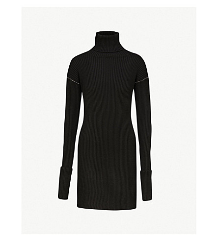 MM6 MAISON MARGIELA Ribbed wool-blend turtleneck dress (Black