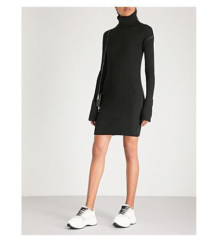 MM6 MAISON MARGIELA Ribbed wool-blend turtleneck dress (Black