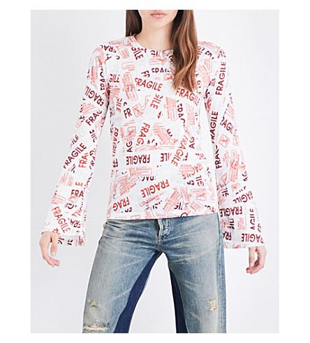 MM6 Fragile-print cotton-jersey top (Fragile+print