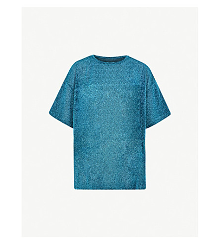 MM6 MAISON MARGIELA Jersey metallic-knit T-shirt (Turquoise