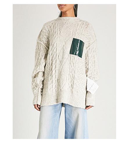 MM6 MAISON MARGIELA Oversized cable-knit cotton-blend jumper (Off+white+melange