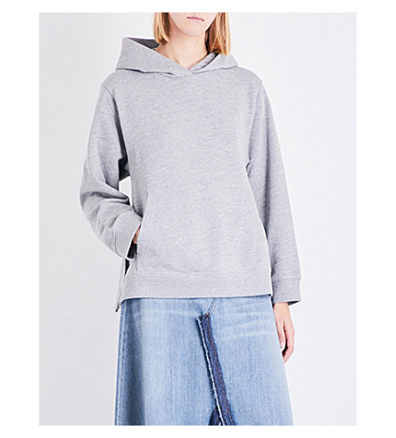 MM6 Oversized cotton-blend hoody (Grey+melange