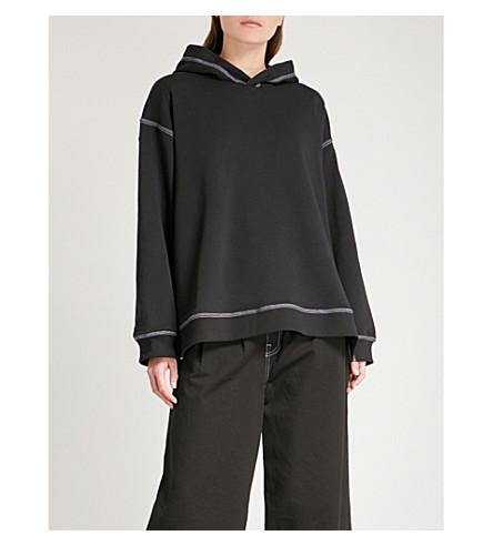 MM6 MAISON MARGIELA Contrast-stitch cotton-jersey hoody (Black