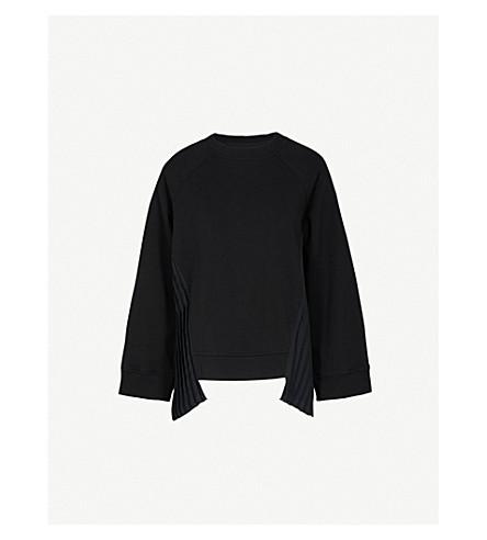 MM6 MAISON MARGIELA Pleated-panel cotton-jersey sweatshirt (Black