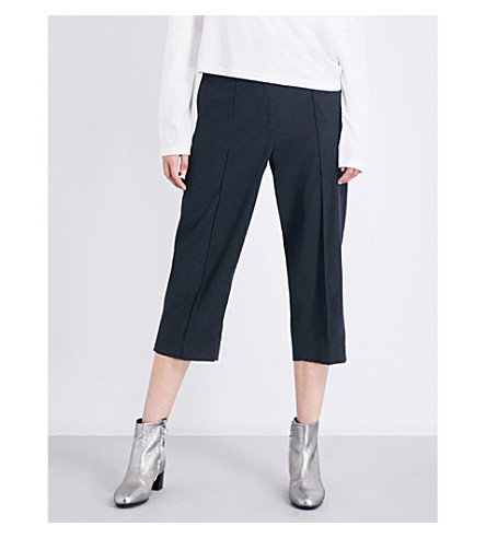 MM6 Straight cropped twill trousers (Black