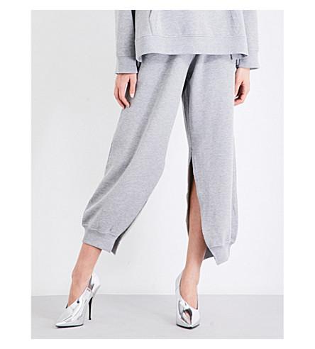 MM6 Side split-hem high-rise cotton-jersey track pants (Grey+melange