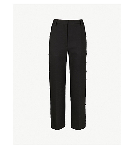 MM6 MAISON MARGIELA Popper-side straight high-rise wool-blend trousers (Black