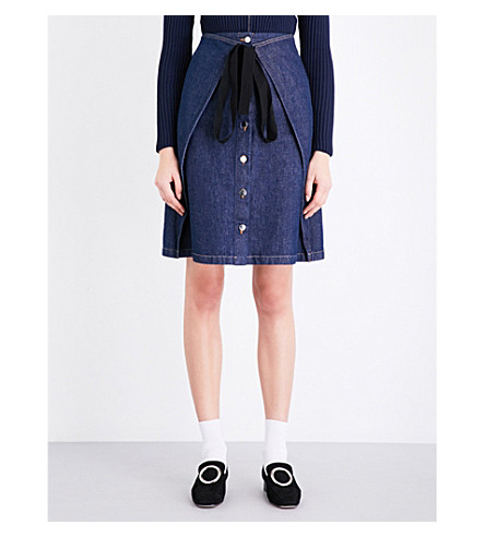 MM6 A-line high-rise denim skirt (Indigo