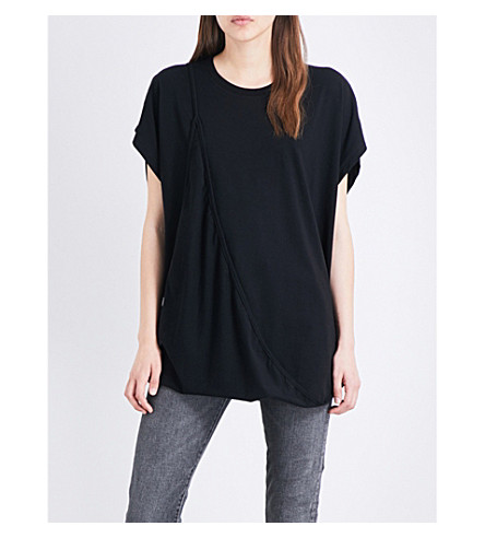 MM6 Asymmetric cotton-jersey top (Black