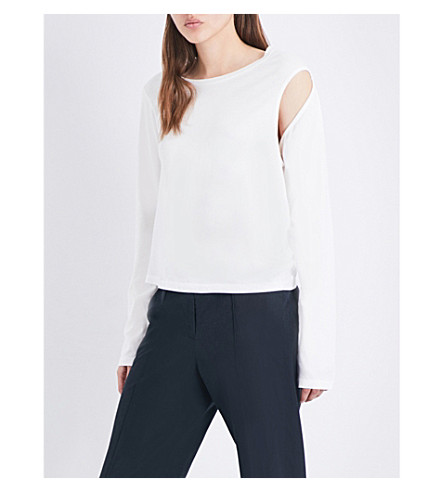 MM6 Cutout cotton-jersey top (Off+white